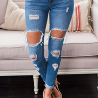 Break You Down Distressed Cuffed Jeans (Medium)