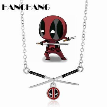 Deadpool Dead pool Taco DIY New Design  Necklace Cross Swords Pendant Necklace Hot Movie Jewelry Long Chain Necklace AT_70_6