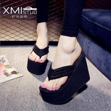 Free Shipping 2016 Ultra High Heels Beach Slippers Summer Wedges Platform Sandals Flip