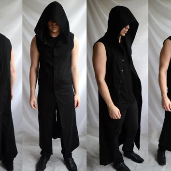 Netherworld Hoodie ( long sleeveless coat gothic industrial post apocalyptic dark avant garde  fashion)