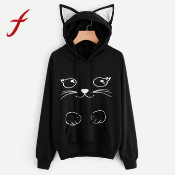 Feitong Hoodies Sweatshirt Womens Fashion Autumn Lovely Cat Printed Long Sleeve Sweatshirt Hooded Pullover Tops sudadera mujer