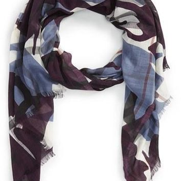 Women's Burberry?'Painted Camo' Wool & Silk Scarf