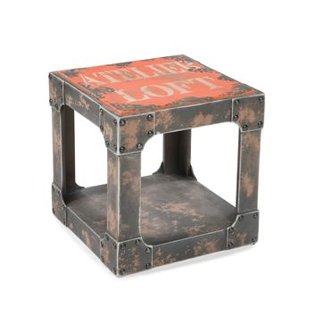 Loft Industrial Style Side Table Orange