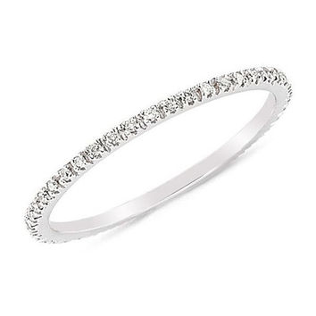 SALE ON Pave Diamonds Solid 18K White Gold Plated Engagement Wedding Full Eternity Matching Band Ring , Mother's Day Gifts