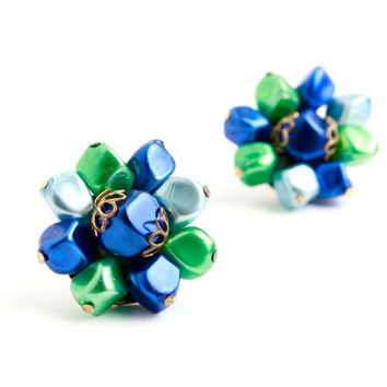 Vintage Beaded Clip On Earrings - Silver Tone Green & Blue Cluster Costume Jewelry / Spring Star
