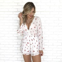 Shake It Off Floral Romper in Ivory