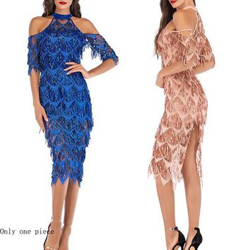 Fashion women's sexy sexy sequined sequined fringed dress