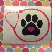 Veterinarian or Vet Tech Stethoscope Vinyl Decal - Choose your design & size!
