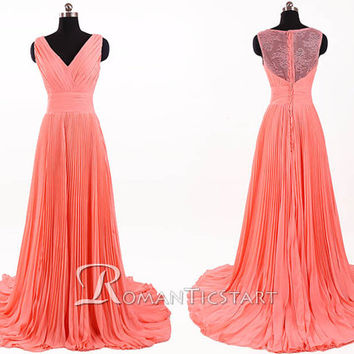2015 coral long prom dress with applique, 80s evening dress with sheer back, lace court train wedding dress,chiffon formal dresses,RS1057