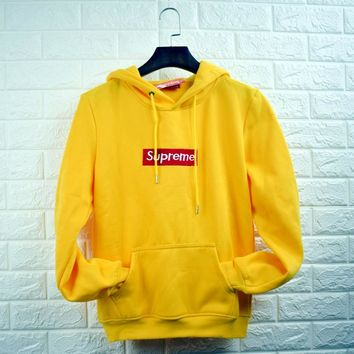 Supreme Champion Contracted hooded sweater yellow