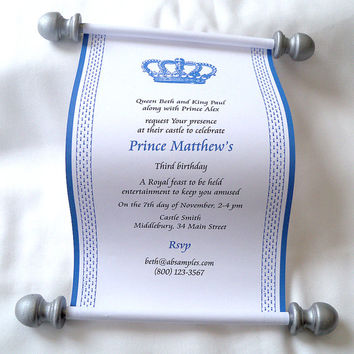 Royal prince birthday party invitation scroll, prince baby shower invitation, royal crown scroll invitation, blue and silver, set of 10