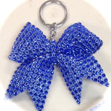 1 Royal Blue Rhinestone Bling Keychain Holders Bow Ribbon Cheer Dance