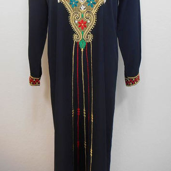 Vintage, Black Embroidered Maxi Tunic, Kaftan - Long Cuffed Sleeves, Multi-color Embroidery, Size S (Fits  a Medium Too) - Fall
