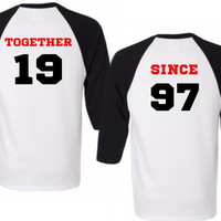 Two Black Baseball Tees - Together Since Cute Matching Couple Shirts