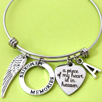 Persoanlized, Letter, Initial, Memories, Miscarriage, Remembrance, Memorial, Bangle, Child loss, Infant loss, Pet loss, Person loss