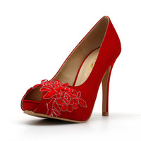 Red Wedding Shoes,Red Bridal Heels,Red Satin Lace Wedding Shoes, Red Lace Bridal Heels