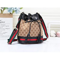 GUCCI's popular women's printed collage backpacks are fashionable backpacks Black