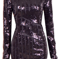 Gia Open Back Sequined Dress - Black