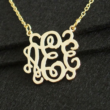 "Monogram necklace, 3 initial necklace, 1"" monogrammed necklace, 18K gold over pure brass for mom, Best Gift for Women, Personalized Necklace"