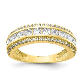 10K Yellow Gold Tiara Collection Polished CZ Ring