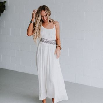 Athena Smocked Maxi Dress - White