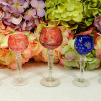 5 Beautiful Crystal Cordial Glasses ~ Nachtmann Traube ~ Grapes ~ Cut to Clear