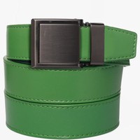 Green Leather Belt with Square Buckle
