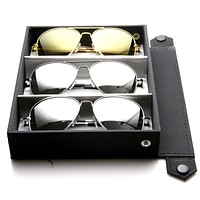 Limited Edition Classic Metal Aviator Full Mirrored Lens Sunglasses + Travel Case 1375