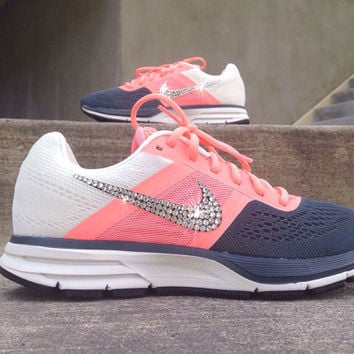 Nike Womens Air Pegasus+ 30 Training Running Jogging Shoes Customized with  Swarovski Crystal Elements Rhinestones Coral dbb78edc7