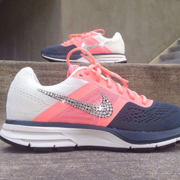 Nike Womens Air Pegasus+ 30 Training Running Jogging Shoes Customized with  Swarovski Crystal Elements Rhinestones Coral 282a87f94