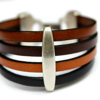 Leather Cuff Bracelet MultiColoured Quadruple Strand Statement Bracelet PPP PepperPotLeatherShop Gift Ideas