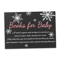Pink Snowflake Books for Baby Card -  Glitter Books for Baby DIY Printable - Cold Outside Girl - Christmas Baby Shower - Build a Library