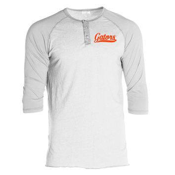 Official NCAA University of Florida Gators The Orange and Blue GATOR NATION Women's Boyfriend Fit 3/4 Sleeve Raglan Lounger Crew Neck Stylish T-Shirt with Buttons
