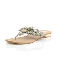River Island Womens Gold gem and stone embellished sandals