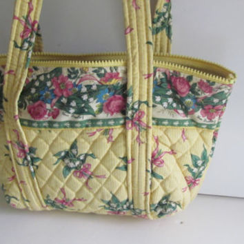 Vera Bradley Purse Pastel Yellow Floral Handbag Green Gingham Vintage Vera Bradley Pocketbook