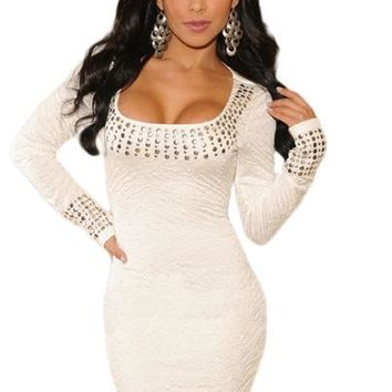 Plus Size White Pleated Studded Long Sleeves Dress