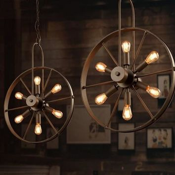 Loft Style Windmill Wheel Droplight Edison Pendant Light Fixtures For Dining Room Hanging Lamp Vintage Industrial Lighting