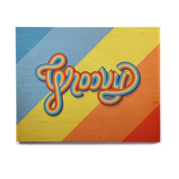 "Roberlan ""Groovy"" Multicolor Typography Birchwood Wall Art"