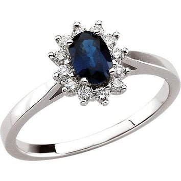 14k White Gold Blue Sapphire Oval & Diamond Halo-Style Ring
