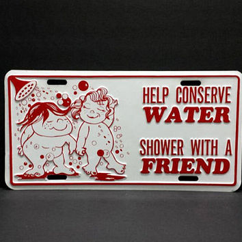 Help Conserve Water Shower With A Friend 70s Funny Novelty Vanity License Plate Vintage Retro Metal Wall Sign Decor Hanging Gift For Couples