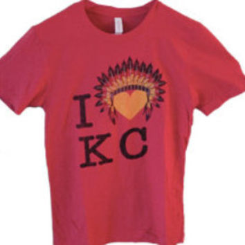 I Love Kansas City Chiefs Ladies Cut Football T-Shirt