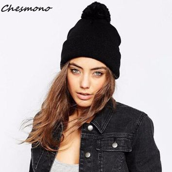 2Colors Fashion Casual Women Winter Hats Knitted Caps with Ball Solid Plain Female Beanies Skullies For Lady Girls Men Male Boys