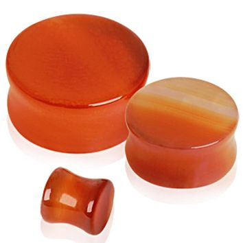 Natural Red Agate Semi-Precious Stone Saddle Plug