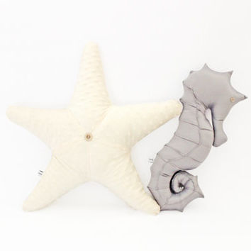 starfish seahorse pillow set, nautical nursery, seahorse, starfish, baby photo prop, nautical bedding, ocean decor, under the sea