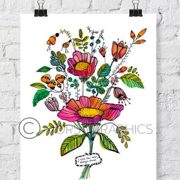 PERSONALIZED art _ Mother's day flower painting _ watercolor flowers _ watercolor print  mother's day gift _ gift for mom _ flower painting