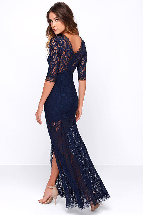 653ff62325e Only One Navy Blue Lace Maxi Dress from Lulu s