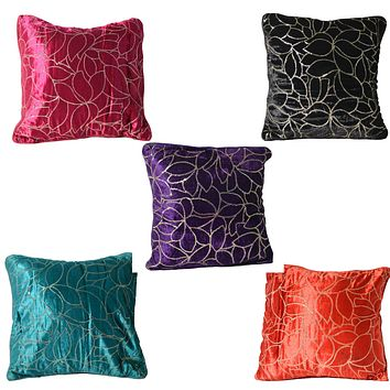 "Set of 5 Mix Color Decorative Velvet Cushion Cover 15""x 15"" Hand Embroidered Floral Design for Couch Sofa Bed Living Room Bedroom 100% Cotton"