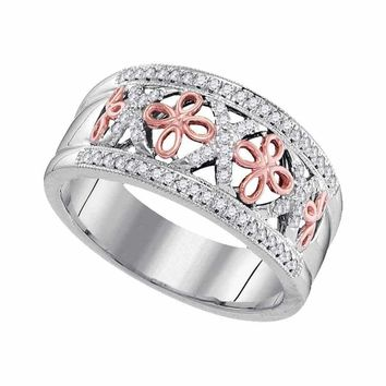 10kt White Two-tone Gold Women's Round Diamond Rose Cross Band Ring 1-5 Cttw - FREE Shipping (US/CAN)