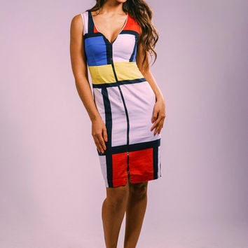 Mondrian dress, summer dress, party dress, work dress, day dress, color block dress