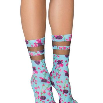 Lovely Cherry Blossoms Mesh Socks in Pink and Blue